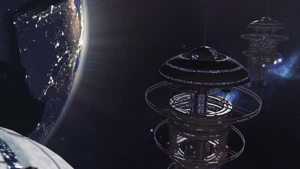 Animated fleet of futuristic space stations Royalty-free stock video