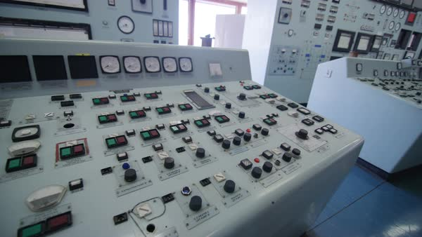 Interior view of system control panel in power plant control room. Nobody. Royalty-free stock video
