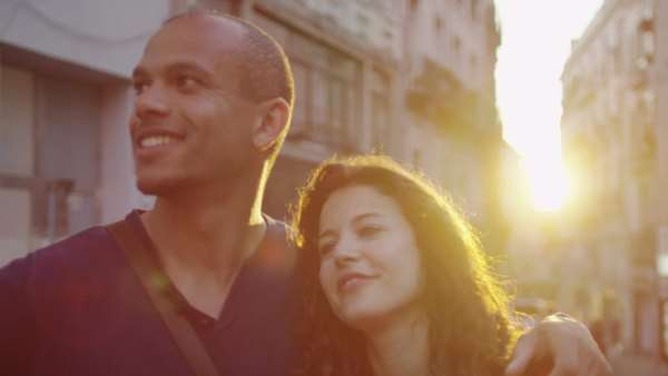 Portrait of attractive romantic couple in an Italian town at sunset Royalty-free stock video