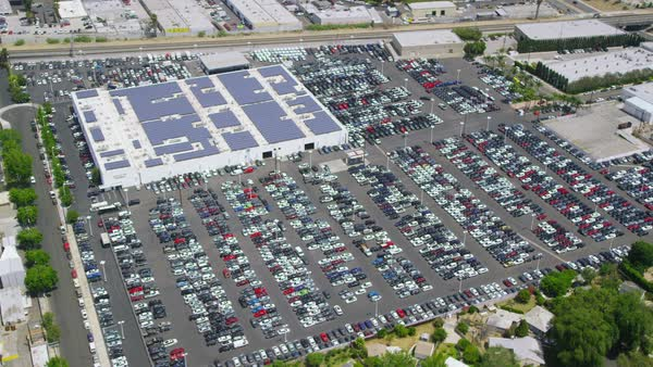 Helicopter Aerial view of LA Shopping Mall & Solar Panels, Califonia. United States in the Summer. Royalty-free stock video