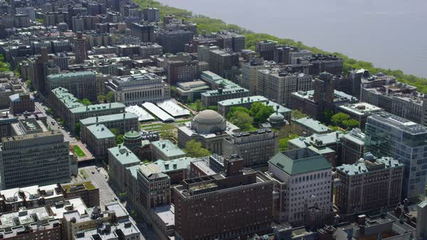 Aerial view of Low Memorial Library New York City Royalty-free stock video