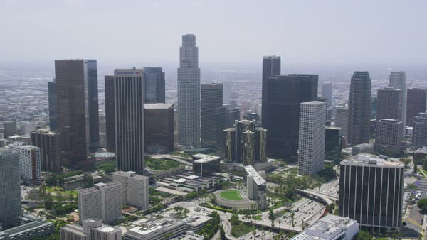 Helicopter Aerial view of Los Angeles City skyscrapers, Califonia. United States in the Summer. Royalty-free stock video
