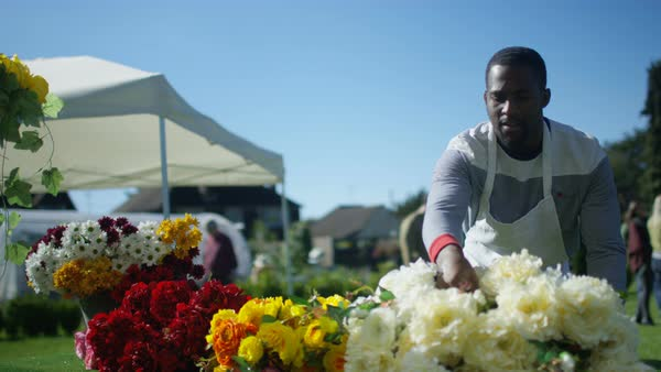 Man preparing fresh cut flowers to sell at outdoor summer market. Royalty-free stock video