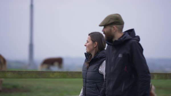 Farming couple walking in the field and checking on the livestock. Royalty-free stock video