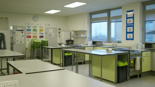 Interior View Of Empty Kitchen In Modern School Building Royalty Free Stock Video