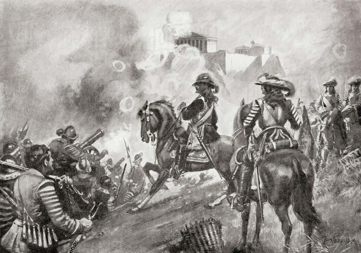 Francesco Morosini bombarding the Parthenon, Greece at the siege of Athens  in 1687 during the Morean War. Francesco Morosini, 1619 – 1694.