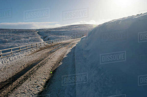Roads high in the Yorkshire Dales in very wintery conditions; Yorkshire, England Royalty-free stock photo