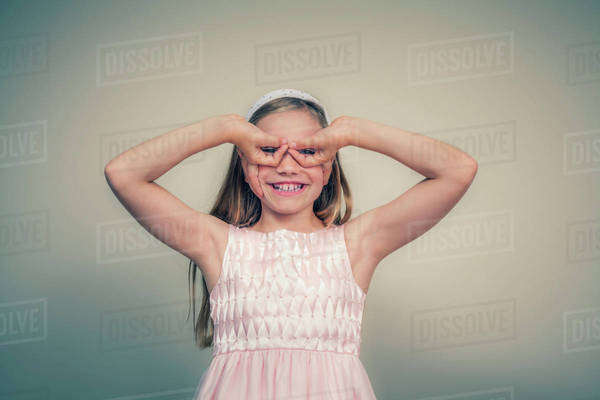 A girl makes a silly face; Connecticut, United States of America Royalty-free stock photo