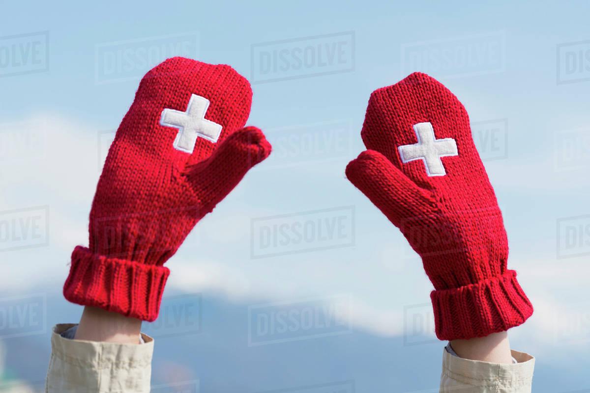 Mittens with the Swiss flag symbol; Ascona, Ticino, Switzerland Royalty-free stock photo
