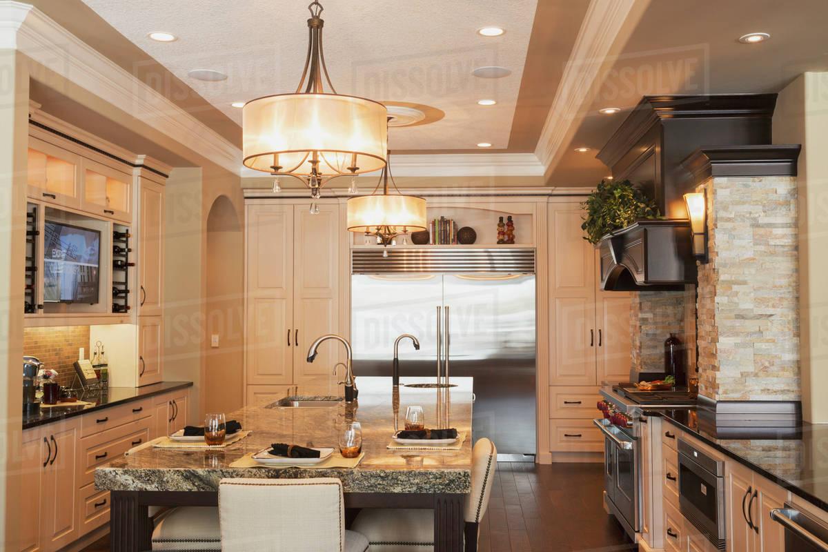 Kitchen In Luxurious Custom Built Estate Home Edmonton Alberta Canada Stock Photo