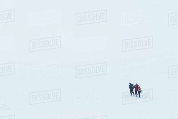 Three walkers in whiteout conditions on snowy, winter walk towards top of Geal Charn, near Laggan; Scotland Royalty-free stock photo