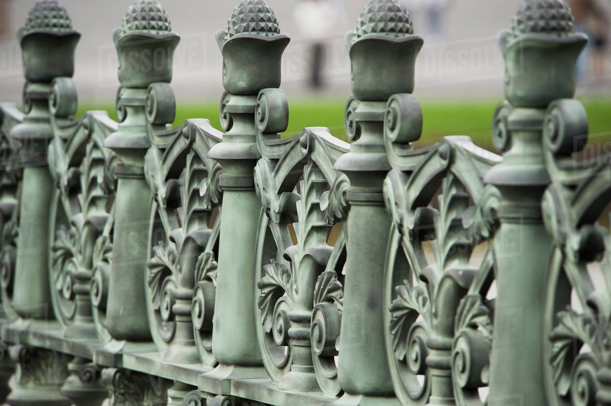 Green Wrought Iron Railing With An Ornate Designtokyo Japan Stock