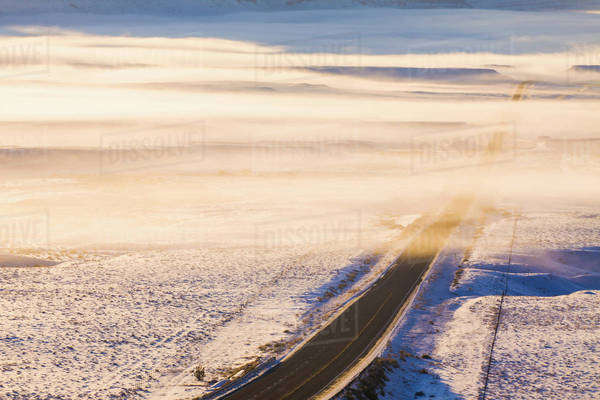 Us Highway 6 In Central Utah With Snowcover And Morning Fog, Usa Royalty-free stock photo