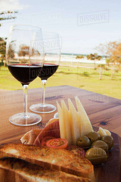 Spanish Tapas And Wine; Kirra Gold Coast, Queensland, Australia Royalty-free stock photo