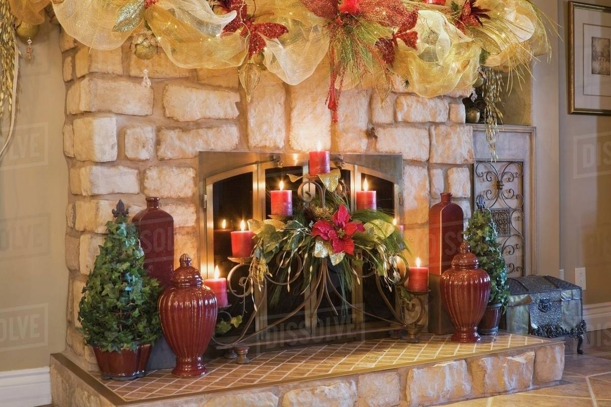 fireplace mantle with illuminated christmas decorations quebec canada