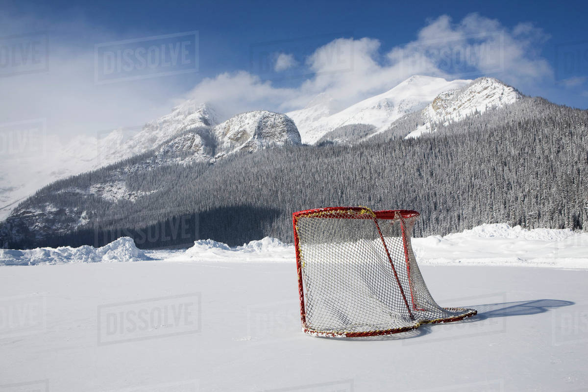 Hockey Net On Outdoor Ice Rink Lake Louise Alberta Canada Stock Photo Dissolve