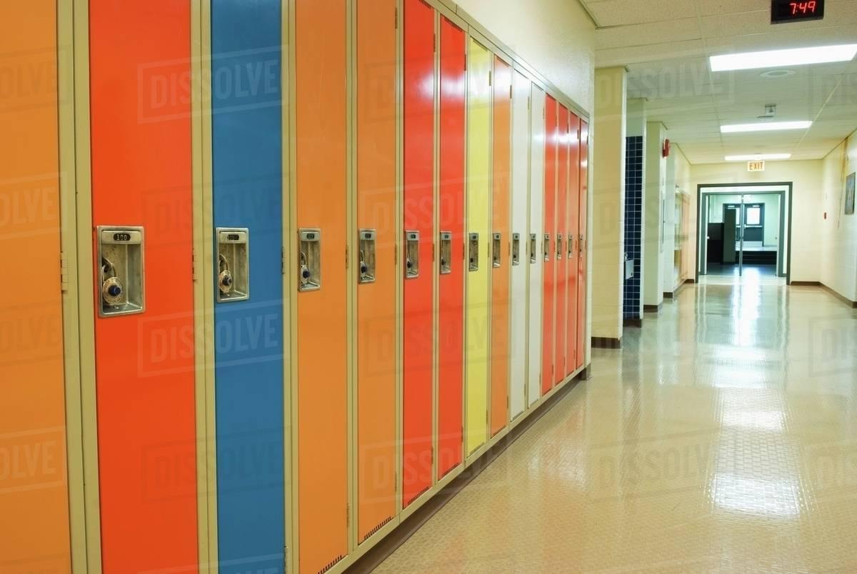 A Row Of Lockers In A School Hallway Camrose Alberta Canada