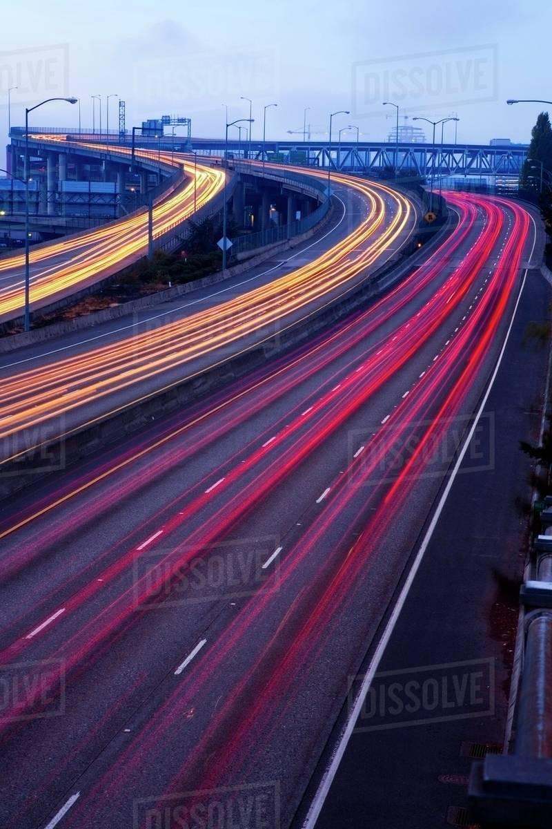 Blurred Traffic On Highway, Portland, Oregon, Usa - Stock Photo