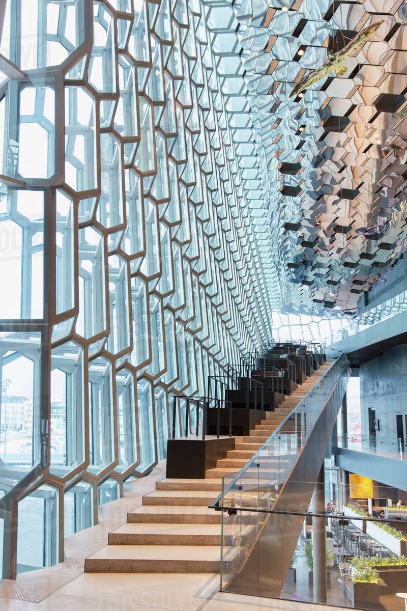 Stairs in the interior of the harpa public concert hall - Architectural designers near me ...