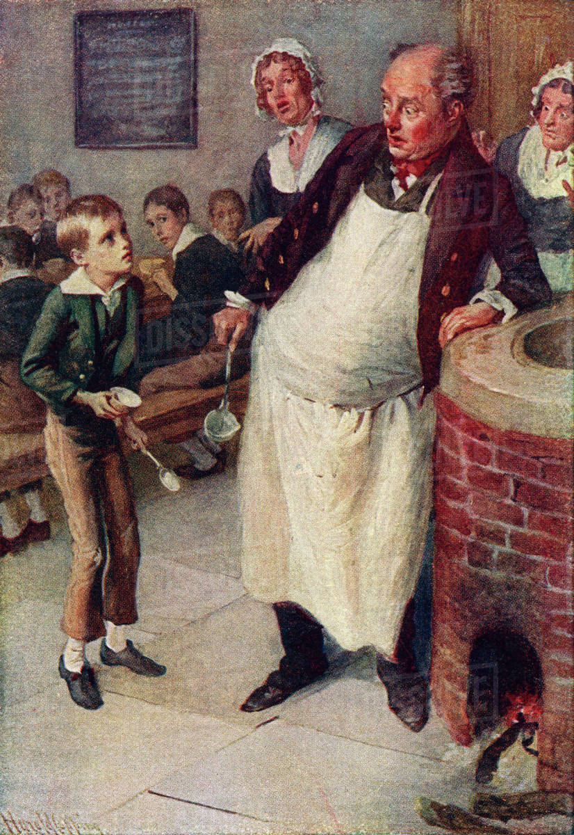 Oliver Twist Asks For More. Illustration by Harold Copping.  From a 1920's edition of Trotty Veck and his Daughter Meg and Other Stories.  The book contains Charles Dickens stories retold for children by Dickens' granddaughter Mary Angela Dickens and others. Rights-managed stock photo