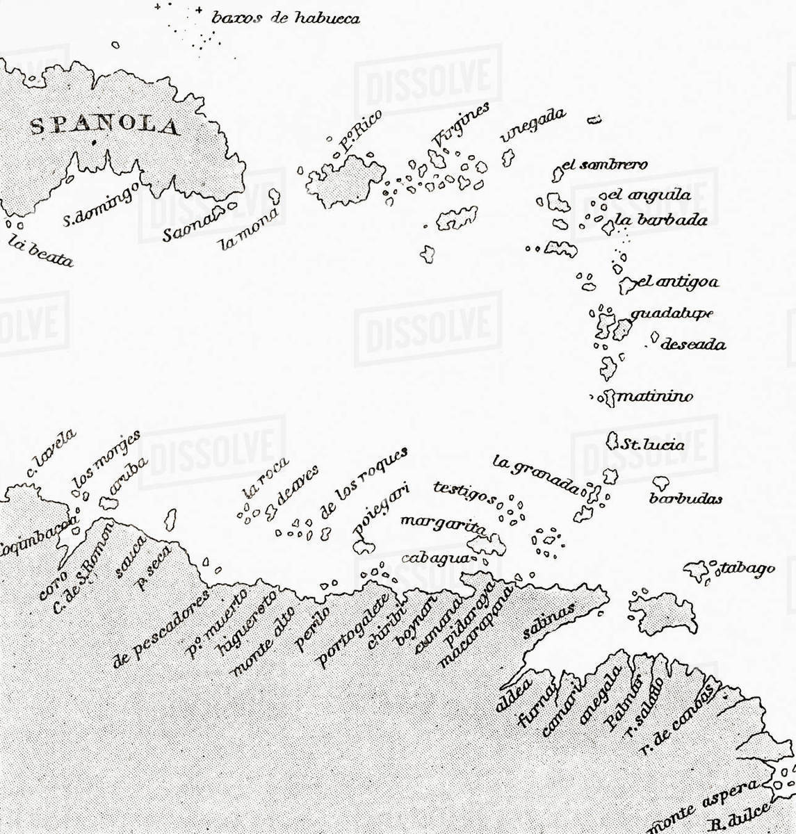 Map of portion of the West Ins, from the Weimar Map of 1527 ... Christopher Columbus S Map on