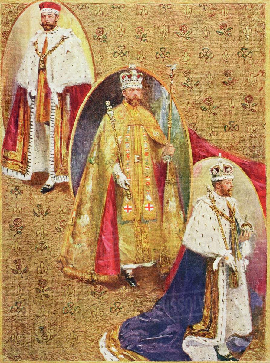 King George V In The Three Robes Worn At The Coronation Ceremony In Westminster Abbey From Top The Royal Crimson Robe Of State The Golden Imperial Mantle And The Royal Robe Of