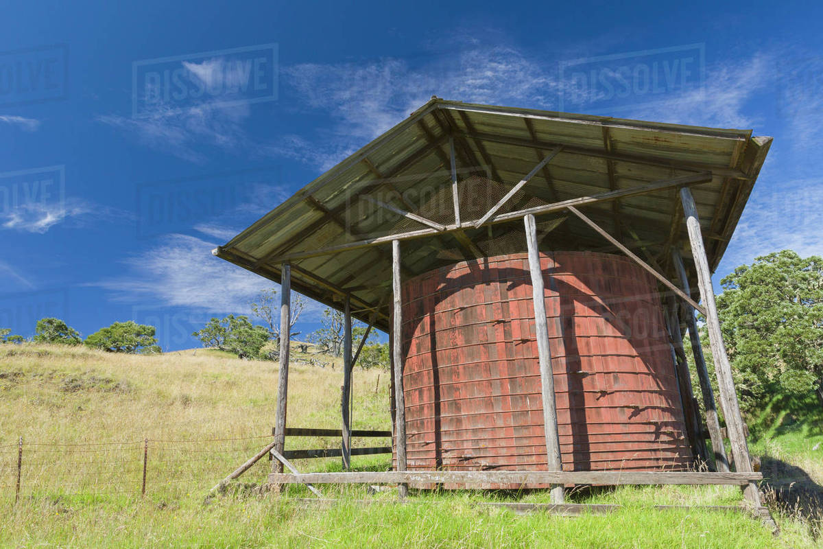 Old Redwood Water Catchment Tank For Livestock Along Four Wheel Drive Mana Road At Base Of Mauna Kea Island Of Hawaii Hawaii United States Of America Stock Photo Dissolve