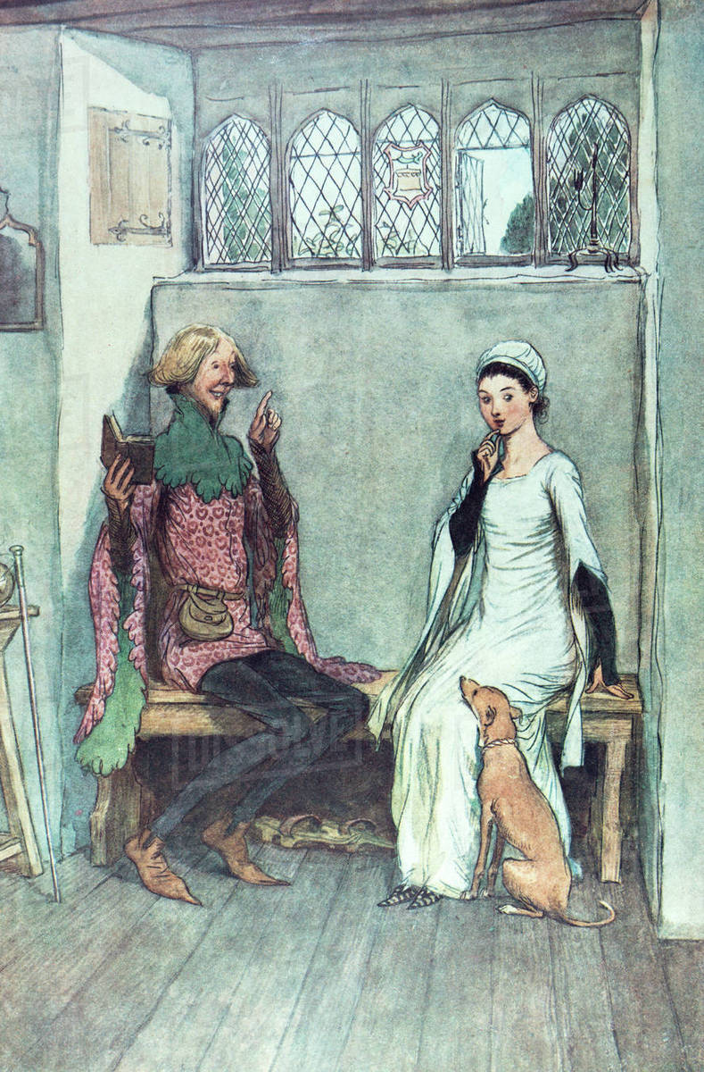 Charles Dicken's The Merry Wives Of Windsor  Illustration By Hugh Thompson  London 1910  The Book Of Riddles,man Telling AA Story To AA Lady Sitting On