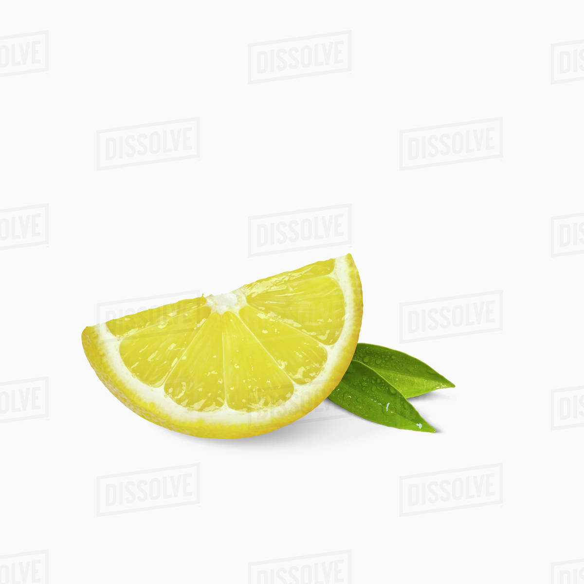 a lemon slice with small leaves on a white background stock photo