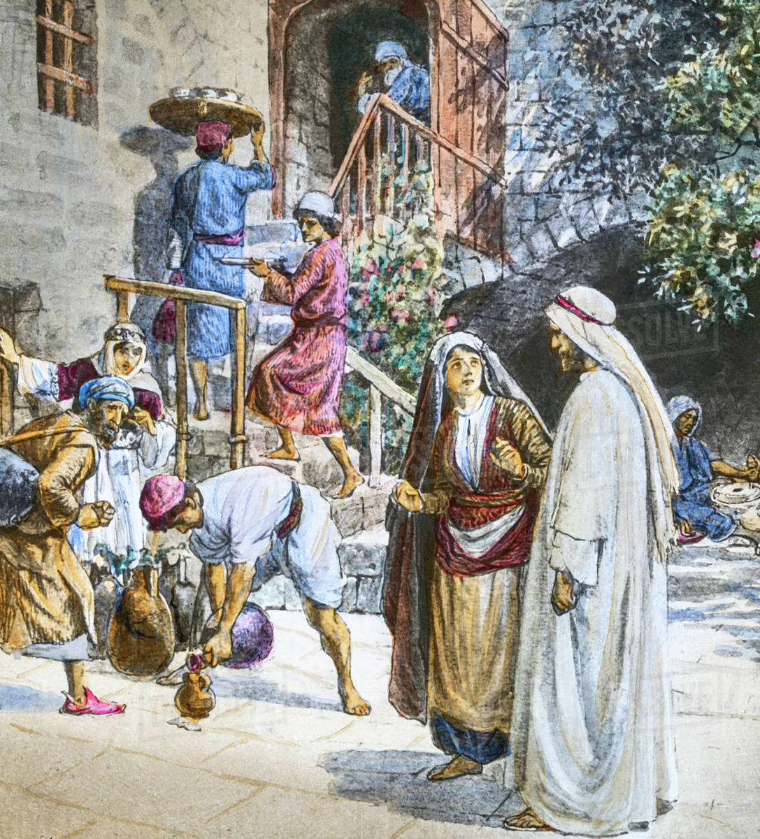 Wedding Feast At Cana.A Hand Coloured Magic Lantern Slide Circa 1900 Series The Life Of Jesus Of Nazareth The Wedding Feast At Cana And On The Third Day A Marriage Took