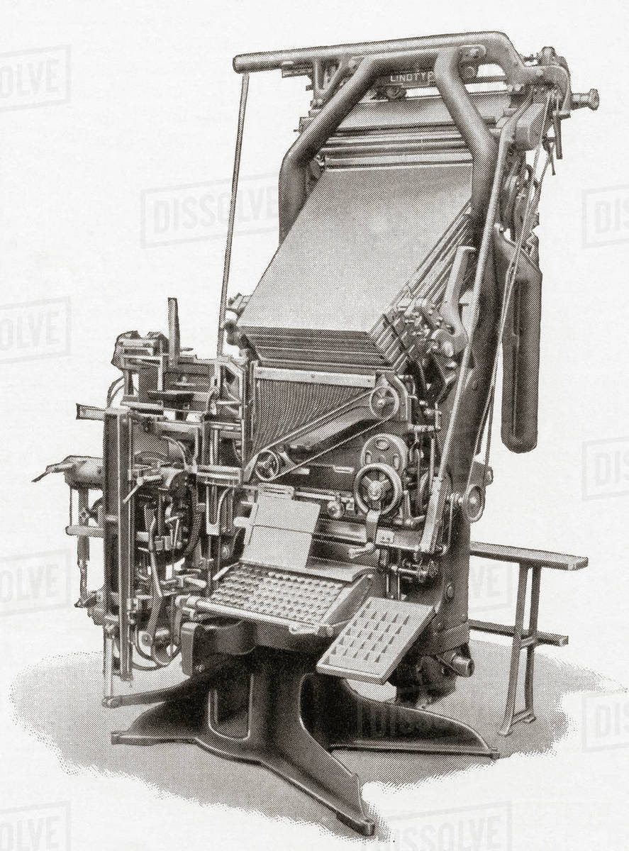 A linotype machine, a line casting machine used in printing  From Meyers  Lexicon, published 1927  stock photo