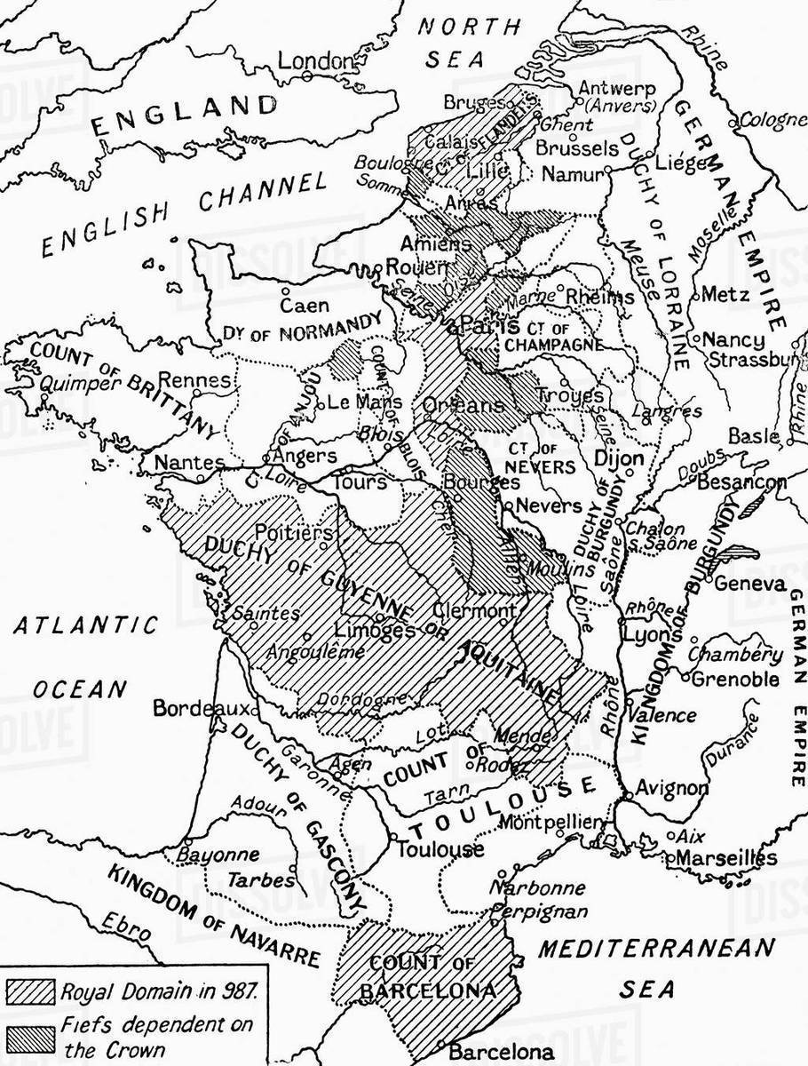 Map France 987.A Map Of Feudal France In 987 From Hutchinson S History Of The