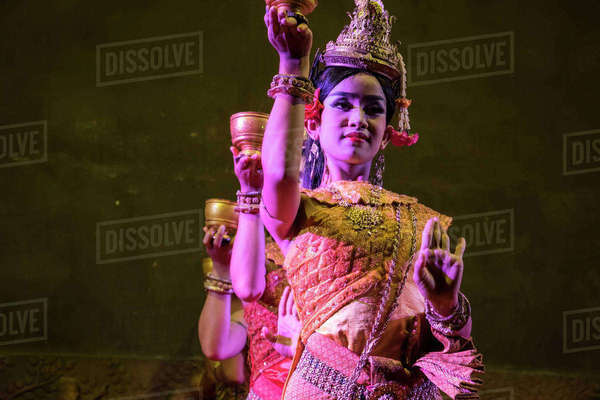 8a5c490c68367 Young women performing the Blessing Dance in a Khmer classical dance  performance; Siem Reap,