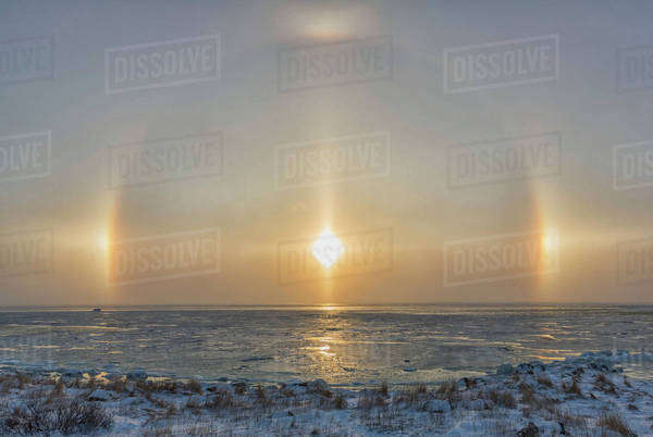 Sundog over top of Hudson Bay; Manitoba, Canada Royalty-free stock photo