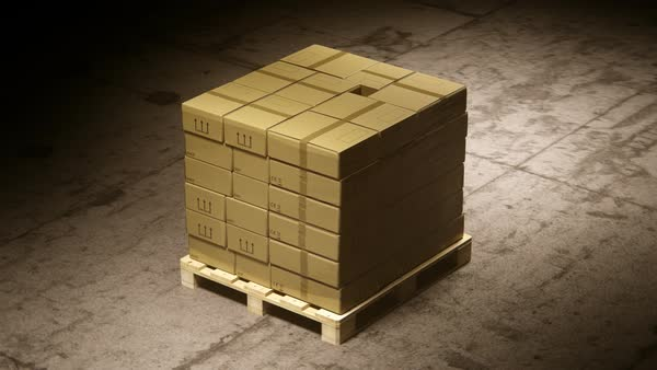 Stack Of Cardboard Boxes On Wooden Pallet In Warehouse Royalty-free stock video