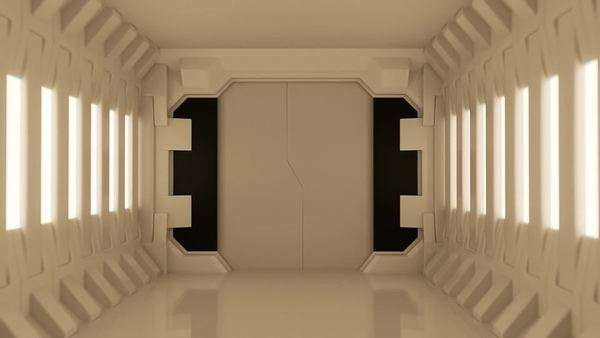 Futuristic spaceship door opening and camera slowly moving Royalty-free stock video