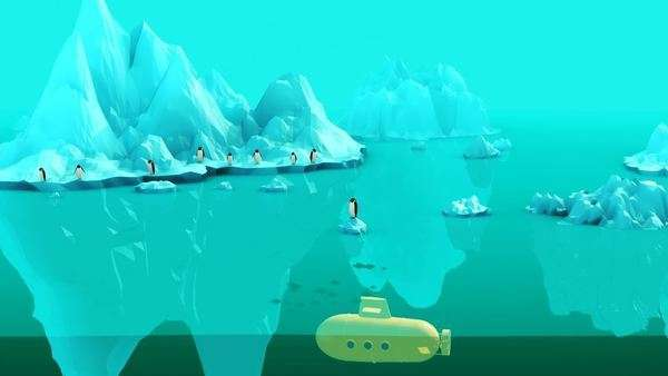 Killer whale eating penguin with submarine emerging from water Royalty-free stock video