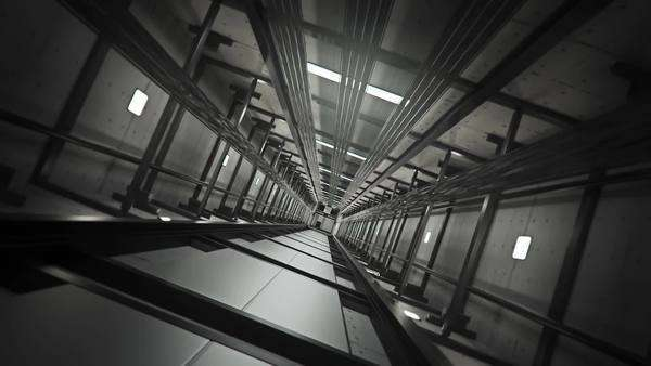 Inside of elevator shaft with moving elevator. Royalty-free stock video
