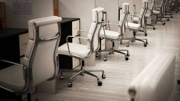 White empty chairs arranged in row at office Royalty-free stock video