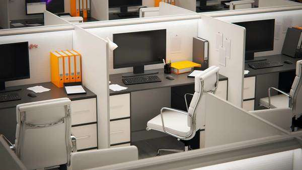high angle view of cubicles with chairs and computers in office royaltyfree stock video