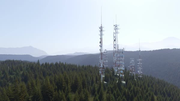 Camera moving along the antenna tower complex Royalty-free stock video