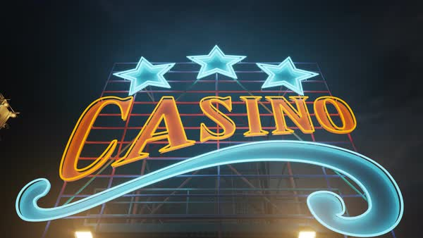Glowing Casino Sign at night Royalty-free stock video