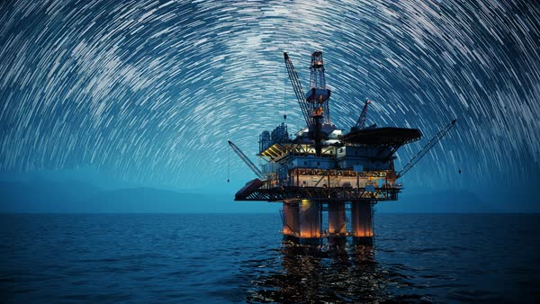 Long exposure shot of oil platform during starry night. Royalty-free stock video