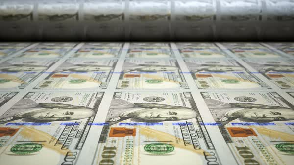 Close-up shot with printing press making  100 dollar bills. Royalty-free stock video