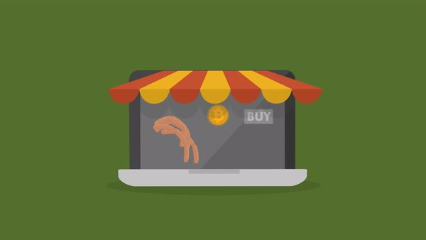 Cartoon style animation showing buying food online Royalty-free stock video