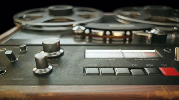 Close-up on reel-to-reel magnetic tape recorder Royalty-free stock video