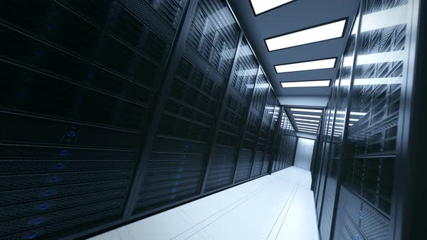Loopable shot with camera passing through the server rooms Royalty-free stock video