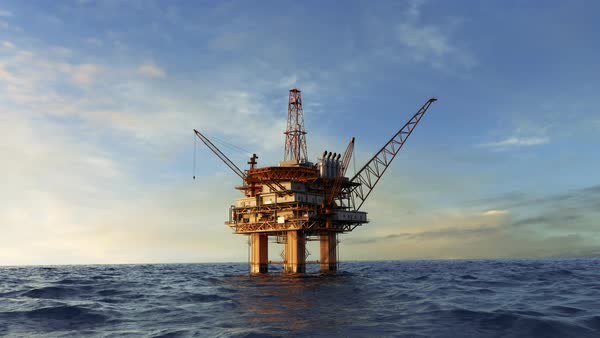 Animation of an offshore oil platform Royalty-free stock video