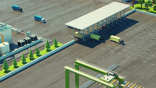 Animation of a busy maritime container terminal Royalty-free stock video