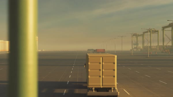 Animation of busy, polluted maritime container terminal Royalty-free stock video
